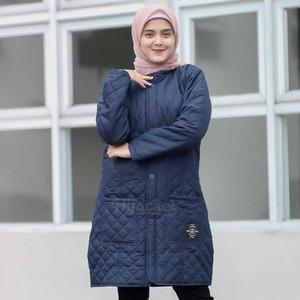 Harga jaket jacket panjang wanita cewek muslimah navy hijacket blv indigo   | HARGALOKA.COM