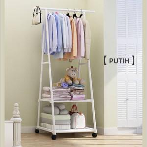 Harga triangle stand hanger baju rak buku pakain rak serbaguna dengan 4 roda   | HARGALOKA.COM