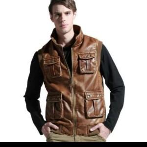 Harga f brand fashion jaket rompi semi kulit pria motor touring motor   HARGALOKA.COM