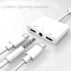 Harga dual lightning to audio port charging aux 3 5mm charger iphone x | HARGALOKA.COM