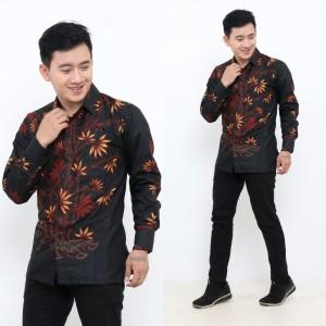 Harga kemeja batik pria lengan panjang original premium m l xl   hitam   HARGALOKA.COM
