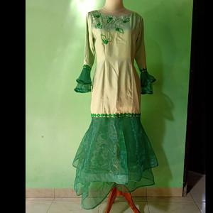 Harga longdress baju pesta warna hijau daun ukuran   HARGALOKA.COM
