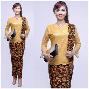Harga setelan kebaya batik kombinasi broklat panjag wanita   kartini selenda   | HARGALOKA.COM