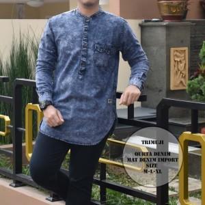 Harga baju koko kurta denim import original premium lengan panjang   biru | HARGALOKA.COM
