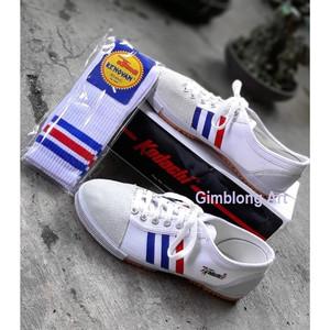 Harga sepatu kodachi 8111 strips white kaos kaki old school murah   | HARGALOKA.COM