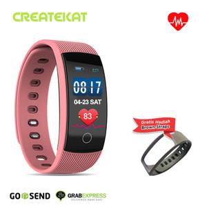 Harga createkat smartwatch heart rate monitor smart band gelang pintar   merah | HARGALOKA.COM