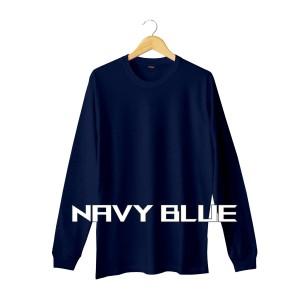 Harga kaos polos lengan panjang navy blue pria wanita bahan cotton soft   | HARGALOKA.COM