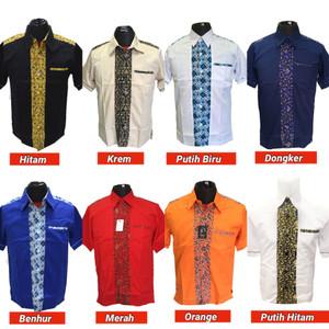 Harga kemeja seragam baju kerja seragam kombinasi seragam batik   putih lis hitam | HARGALOKA.COM