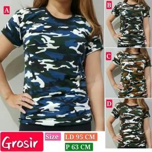 Harga baju kaos wanita kaos army kaos oblong loreng kaos lengan pendek   biru | HARGALOKA.COM
