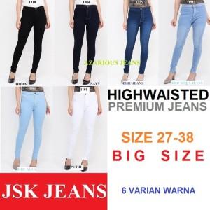 Harga celana panjang highwaist jeans wanita skinny pensil big size jumbo   hitam   HARGALOKA.COM