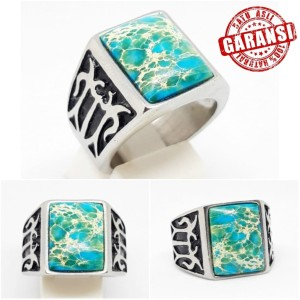 Harga cincin batu akik pirus biru natural turqouise garansi asli     HARGALOKA.COM