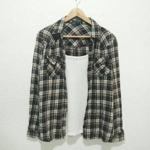 Harga d5952 kemeja kotak wanita size m import bahan katun dingin baju | HARGALOKA.COM