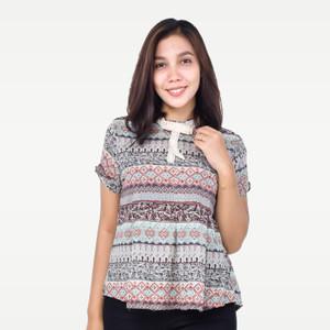 Harga seyes v7659 tumblr blouse wanita atasan lengan pendek motif etnik   | HARGALOKA.COM