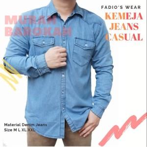 Harga kemeja jeans kemeja panjang pria casual fadio murah | HARGALOKA.COM