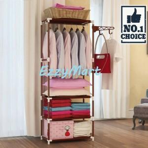 Harga rak lemari pakaian beridiri serbaguna stand hanger multifungsi   merah | HARGALOKA.COM