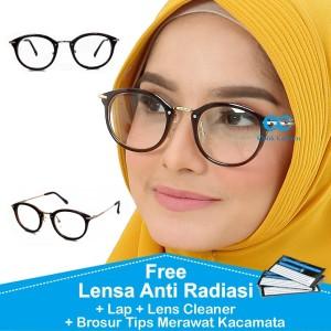 Harga frame kacamata fashion wanita bulat antiradiasi minus plus | HARGALOKA.COM