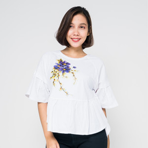 Harga seyes v7690 tumblr blouse wanita lengan pendek premium putih   | HARGALOKA.COM