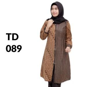 Harga tunik zipper atasan batik solo batik kantor baju batik wanita td 089   | HARGALOKA.COM