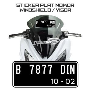 Harga sticker stiker plat nomor untuk windshield visor motor   putih glossy dasar | HARGALOKA.COM