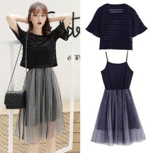 Harga women 39 s korean style o neck solid top and mesh sling dress | HARGALOKA.COM