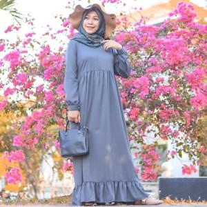 Harga baju gamis wollycrep   gamis ruffle murah cantik   baju muslim wanita   merah | HARGALOKA.COM