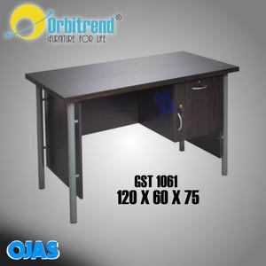 Harga meja tulis kantor 1 2 biro kaki besi orbitrend warna coklat dan | HARGALOKA.COM