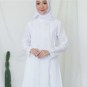 Harga gamis putih katun jepang baju haji gamis ihrom perlengkapan haji 9338   putih | HARGALOKA.COM