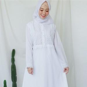 Harga gamis putih katun jepang baju haji gamis ihrom perlengkapan haji 9337   putih | HARGALOKA.COM