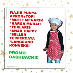 Harga celemek anak apron tk kain motif plus topi koki | HARGALOKA.COM