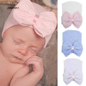 Harga murah id topi kupluk lucu aksen pita untuk newborn bayi | HARGALOKA.COM