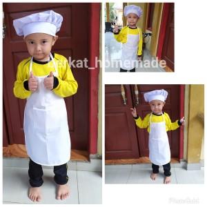 Harga celemek anak tk apron plus topi koki chef | HARGALOKA.COM