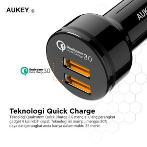 Harga aukey car charger cc t8 2 output fast charging 3 0 qualcomm | HARGALOKA.COM