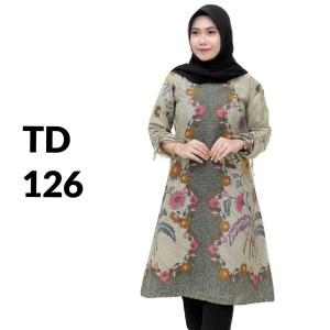 Harga tunik atasan batik solo batik kantor baju batik wanita td 126   | HARGALOKA.COM