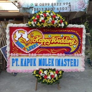 Harga free ongkir papan bunga happy wedding   HARGALOKA.COM