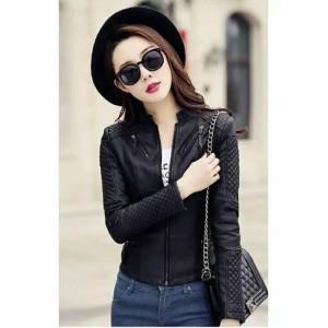Harga jaket semi kulit wanita korea style   hitam | HARGALOKA.COM