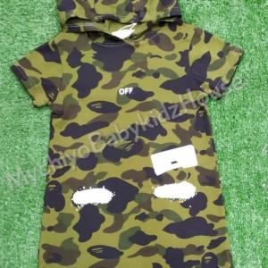 Harga baju anak perempuan dress army hoodie import good quality   | HARGALOKA.COM