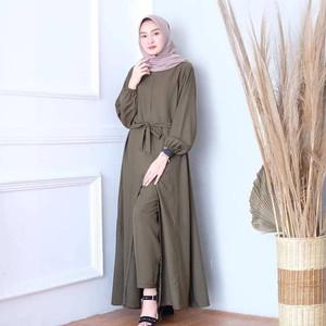 Harga setelan baju gamis wanita long tunik plus celana ertania set | HARGALOKA.COM