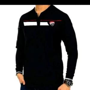 Harga kaos polo shirt lengan panjang pria tshirt kerah keren ducati sport   navy | HARGALOKA.COM