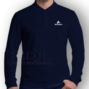 Harga kaos polo shirt lengan panjang pria tshirt kerah keren eiger black   abu abu muda | HARGALOKA.COM