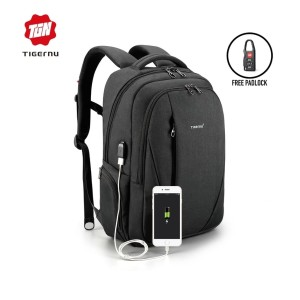 Harga tigernu t b3399 backpack bag usb   tas ransel laptop 15 6 34   dark | HARGALOKA.COM