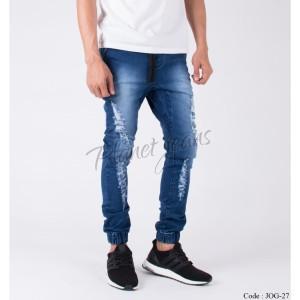 Harga celana jogger pants bahan jeans model ripped joger robek blue wash   HARGALOKA.COM
