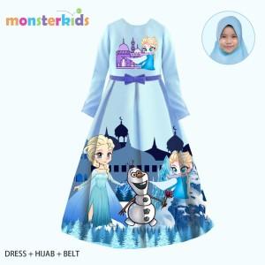 Harga baju muslim anak perempuan gamis frozen biru 3 in 1 teen   11 12 | HARGALOKA.COM