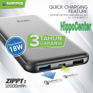Harga hippo power bank zippy 2 12000mah quick charging qualcom 3 | HARGALOKA.COM