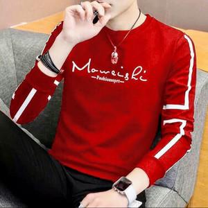 Harga baju kaos lengan panjang moweishi pria cowok murah bahan babyterry   merah | HARGALOKA.COM