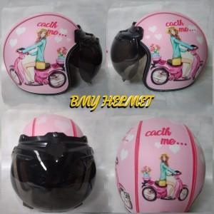 Harga helm bogo retro dewasa motif cewe vespa pink   HARGALOKA.COM