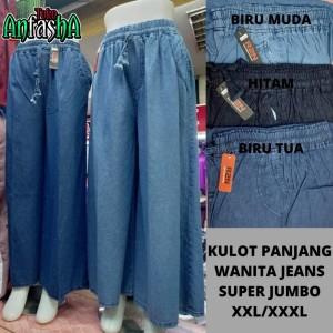Harga kulot jeans polos denim jumbo   celana panjang wanita ory | HARGALOKA.COM