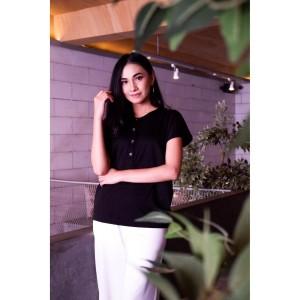 Harga yoenik apparel cyrinda short button tops black m15376   HARGALOKA.COM