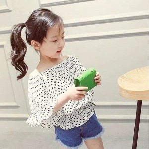 Harga baju atasan anak polkadot import korea warna putih   2 3 | HARGALOKA.COM
