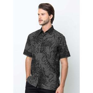 Harga kemeja batik baju lengan pendek pria modern original   abu abu   HARGALOKA.COM