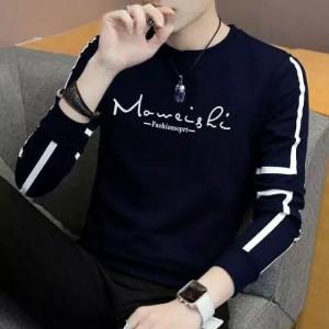 Harga kaos pria sweater baju lengan panjang cowok babyterry baju danilo   navy | HARGALOKA.COM